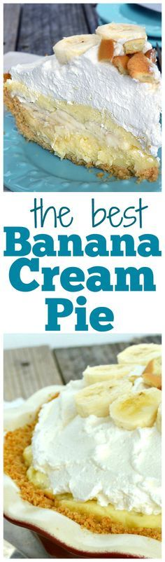 Amazing Banana Cream Pie made with a homemade rich, velvety custard, lots of fresh sliced bananas, a crunchy cookie crust, topped off with a mountain of fluffy whipped cream!