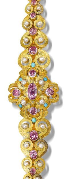 A gold, foiled topaz, turquoise and seed pearl parure, last quarter of the 19th century [Bracelet]