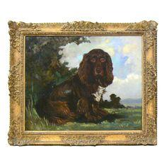Painted Portrait of Brown Spaniel,  H.R. Millais