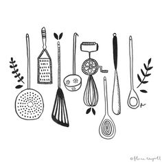 Flora Waycott - Inktober Day 25 - I wish I had more time to get in to the kitchen and cook! xx cartoon class design drawing for two gadgets ideas pasta photoshoot pictures sweets tools vegetarian wallpaper woman cooking cooking Kitchen Drawing, Kitchen Art, Web Design, Logo Design, Graphic Design, Recipe Book Design, Cooking Photography, Doodles, Food Illustrations