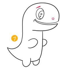 Dinosaur Tails, Dinosaur Head, Dinosaur Drawing, Cute Dinosaur, Cartoon Drawing For Kids, Cartoon Drawings, Easy Drawings, Cute Cartoon, Business For Kids