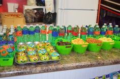 Containers from dollar tree Turtle Birthday Parties, Ninja Turtle Birthday, Ninja Turtle Party, Birthday Party Themes, Ninja Turtles, Carnival Birthday, 5th Birthday, Birthday Celebration, Birthday Ideas