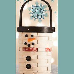 Mr Flurry basket. Sooooo cute! #snowman #longaberger