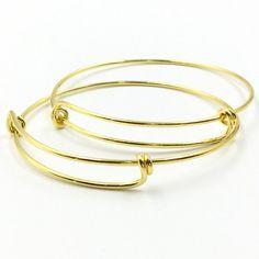 10 pcs Gold Plated Adjustable Wire Bangle Bracelet 2 Loops
