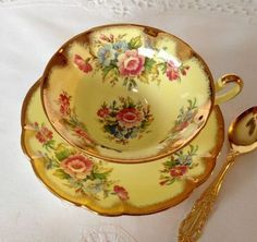 Yellow EB Foley China Tea Cup & Saucer by NicerThanNewVintage on Etsy… Vintage Dishes, Vintage Cups, Vintage China, Antique Tea Cups, Vintage Party, China Tea Cups, Teapots And Cups, Tea Service, My Cup Of Tea
