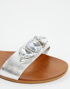 41d0b36fb15d1 Enlarge New Look Wide Fit Flaunt Silver Gem Flat Sandals Flat Sandals