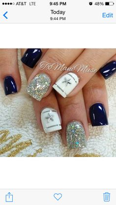 Dallas Cowboys Nails San Antonio, Tx. Nail Art done by Sandra! Instagram name: txmanimuse