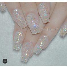 Clear glitter acrylic nails