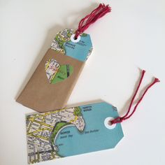 Handmade vintage map gift tags