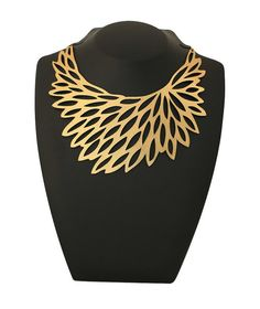 Fashion designer gold flower necklace - Flowerbloom Necklace Gold - Laser cut leather with a gold foil finish