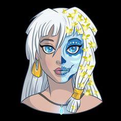 Las bellas ilustraciones de las princesas maquilladas como Catrinas (originalmente llamada La Calavera Garbancera) forman parte de la serie 'Sugar Skull' y son obra de la diseñadora Karen Amador...