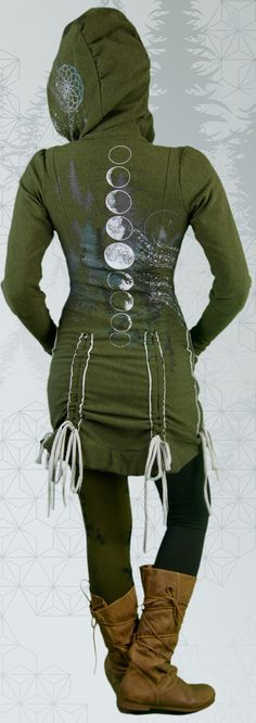 Bamboo Bustle Jacket made in Canada. This organic green women& hoodie is hand printed with moons, moon phases, trees, stars and sacred geometry. Cotton Jacket, Moon Phases, Hoodie Jacket, Organic Cotton, Bamboo, Bustle, Sacred Geometry, High Neck Dress, Turtle Neck
