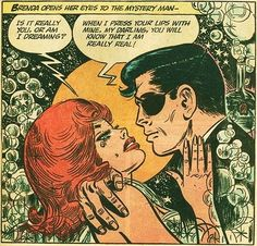 Panel from Brenda Starr Reporter comic strip featuring character Brenda and Basil St. John in an embrace, published by The Chicago Tribune, United States, 1965, by Dale Messick.