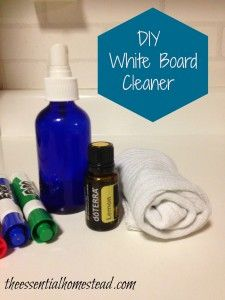 DIY White Board Cleaner- 4oz bottle with spray top. Fill 3/4 full with water and add 40 (or so) drops of lemon essential oil. Put lid on and shake!