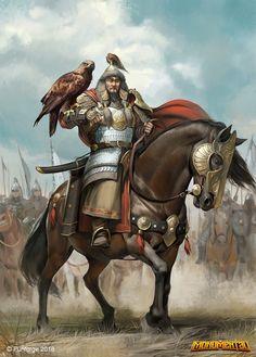 m Barbarian Med Armor Sword Eagle Companion Horseback Barding Army eastern border story lg Fantasy Characters, Fantasy, Fantasy Artwork, Ancient Warriors, Fantasy Warrior, Historical Warriors, Art, Genghis Khan, Warrior