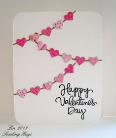 hearts on a string card