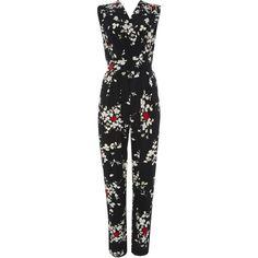 Black Blossom Print Jumpsuit (1,060 MXN) ❤ liked on Polyvore featuring jumpsuits, black, wallis jumpsuit, jump suit, black jumpsuit, black jump suit and black wrap jumpsuit