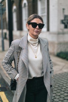 Celine Sunglasses, cashmere sweater, check coat, gold locket, vintage Chanel timeless bag, Re-Don jeans