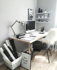 31 White Home Office Ideas To Make Your Life Easier; home office idea;Home Office Organization Tips; chic home office. Home Office Design, Home Office Decor, Desk Office, Office Ideas, Desk Ideas, Workspace Desk, Desk Setup, Office Nook, Office Inspo