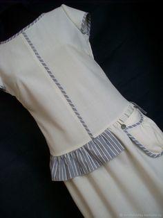 Платье (шерсть,хлопок) - купить или заказать в интернет-магазине на Ярмарке Мастеров | Платье из тонкой шерстяной ткани молочного цвета… Dresses For Teens, Casual Dresses, Girls Dresses, Women's Fashion Dresses, Hijab Fashion, Modelos Plus Size, Fashion Details, Fashion Design, Chic Dress
