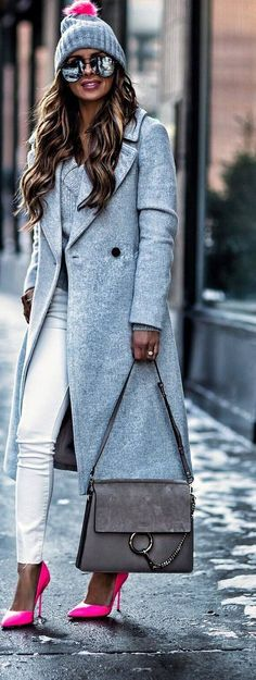 #winter #outfits long grey jacket, grey sweater, white pants, pink heels