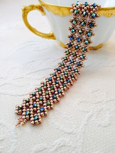 Gold & Turquoise crystal cuff bracelet, Swarovski bracelet, turquoise beaded cuff bracelet, bridal cuff, beadwoven cuff, wedding jewelry EBW