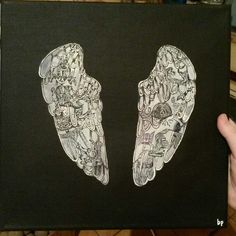Finished!  #drawing #painting #art #coldplay #coldplayer #wings #blackandwhite #slovakia #slovensko