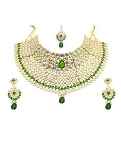 Best for Bridal, Kriaa Mithya Choker Green & White Kundan Necklace Set with Earrings and Maang Tikka - Rs. 1395 Buy now at http://www.kriaa.in/product/2000519/Necklace-Sets/Kriaa-Mithya-Attractive/?pd=GMLF#.VpSWNbh96M8