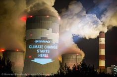 Greenpeace makes clever use of coal power stations as backdrops for projected billboards while negotiators discuss climate change in Warsaw.