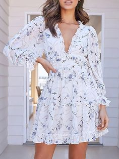 2020 New Summer Fashion Elegant Woman Party Dress Women's Ruffled V-neck Floral Lantern Sleeves Sexy Girl Boho Dresses White Long Sleeve Dress, Sleeved Dress, Ruffle Sleeve, Dress Cake, Collar Designs, Knit Sweater Dress, Party Dresses For Women, Women's Fashion Dresses, Types Of Sleeves