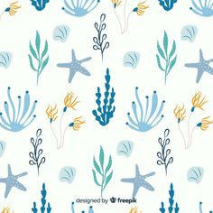 Hand drawn coral with sea animals background Free Vector Sea Illustration, Pattern Illustration, Vector Illustrations, Nautical Clipart, Vintage Typography, Vintage Logos, Retro Logos, Underwater Creatures, Hand Drawn Flowers