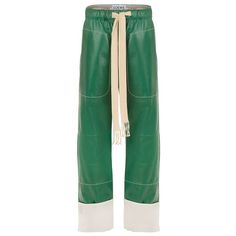 LOEWE Drawstring Trousers Forest Green (£2,745) ❤ liked on Polyvore featuring forest green, leather, pants and loewe