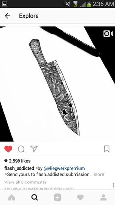 chef knife tattoo sketch