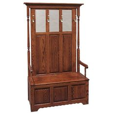 Solid Wood Amish Classic 3-Panel Double Hall Seat