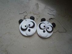 orecchini panda in fimo