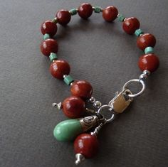 Red coral and turquoise beaded bracelet with Tibetan turquoise bead