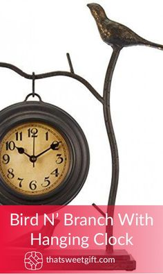 Bird N' Branch With Hanging Clock Hanging Clock, Metal Homes, Wood And Metal, Mothers, Best Gifts, Gift Ideas, Bird, Amazon, Random