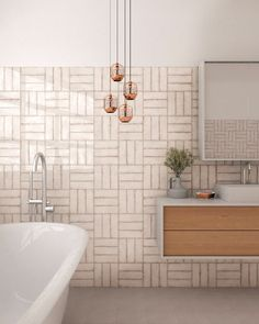 INTERIOR TRENDS Zellige tiles are a top decor trend for be inspired on how to decorate with tellige tiles with our inspirations Bathroom Trends, Bathroom Sets, Bathroom Wall, Bathroom Interior, Small Bathroom, Bathroom Hardware, Bathroom Cabinets, Bad Inspiration, Bathroom Inspiration