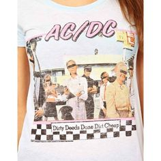 Junk Food AC DC T-shirt ($27) ❤ liked on Polyvore featuring tops, t-shirts, print tees, faded t shirts, print t shirts, pattern tees and raglan top