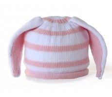 striped bunny ears baby hat