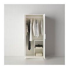 IKEA - BRIMNES, Garderobekast met 2 deuren, zwart, , Perfect voor opgevouwen kleding en lange en korte hangkleding.Wil je de binnenkant op orde houden, dan kan je het geheel completeren met de SKUBB bakken set van 3.Verstelbare scharnieren zodat de deuren recht hangen.