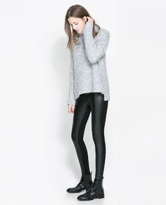 COMBINED FAUX LEATHER LEGGINGS from Zara