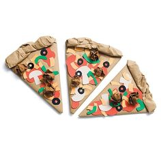 From Spoonful. Create a pizza using brown paper bag, glue, and construction paper toppings. So easy, but a bit messy!