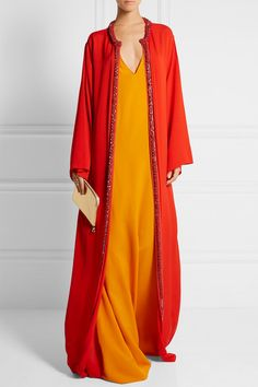 Red and orange silk-crepe Concealed hook fastening at front 100% silk Dry clean Imported