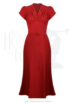 1930s Style Fashion Dresses So Foxy Retro Wiggle Dress - Red £105.00 AT vintagedancer.com