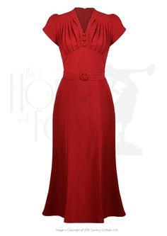 1930s Style Fashion Dresses So Foxy Retro Wiggle Dress - Red £105.00 AT vintagedancer.com