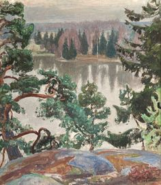 From Sarvikallio by Pekka Halonen, 1916 Old Paintings, Landscape Paintings, Romanticism Paintings, Scandinavian Paintings, Scandinavian Art, Chur, Russian Painting, Watercolor Trees, Painting Gallery