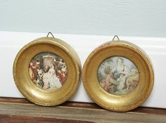 Vintage Gold Round Framed French Picture-La Musette-Meeting at