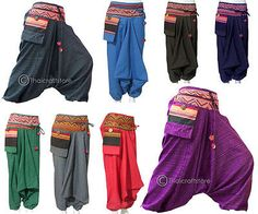 Gypsy Hippie Aladdin Hmong Baggy Genie Harem Pants Men Women Hammer Trousers