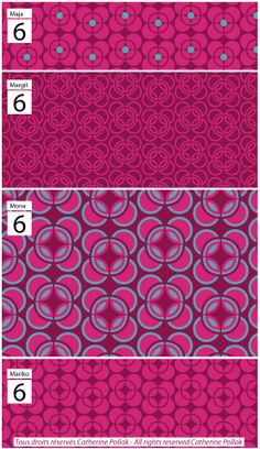 set of 4 patterns Maja, Margit, Mona, Mariko. Coming soon on Spoonflower